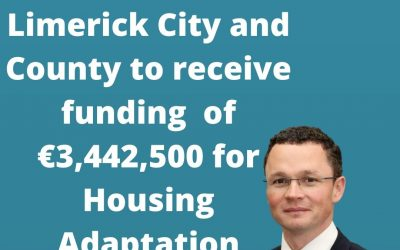 Limerick City and County to receive funding of €3,442,500 for Housing Adaptation Grants.