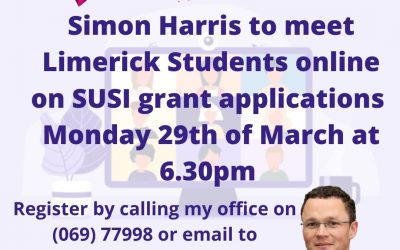 Simon Harris to meet Limerick Students on SUSI grant applications with Patrick O'Donovan.